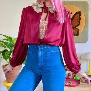 Vintage 70s Victorian lace cropped open blouse S